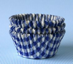 Cupcake Liners, Blue--Gingham
