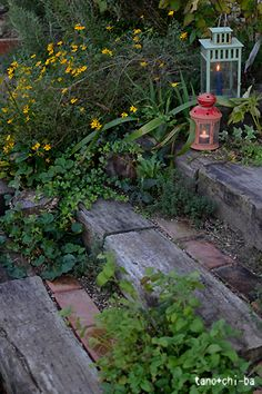 Garden Path On A Slope Railroad Ties Ideen - Garden Wedding Ideas - Jardinería Shade Landscaping, Hillside Landscaping, Landscaping Ideas, Outdoor Landscaping, Railroad Ties Landscaping, Hillside Garden, Path Design, Landscape Design, Garden Design