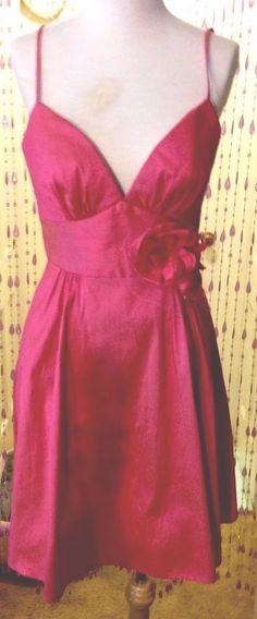 LOVELY HJ HJEILM Pink Faux SILK Short Full Skirt Formal/Social/Ballroom Dress,12  | eBay