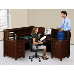 Martin Furniture Right Return Reception LDesk with Counter by Martin Furniture. $1949.00. Total grommets: two. Sleek lines complement the contemporary style of the reception station with hutch counter and provides the perfect first impression. Station, which includes keyboard tray and two organizers, offers a comfortable, spacious work environment. No assembly required and backed by our exclusive Lifetime Guarantee.Total grommets: two. 15762