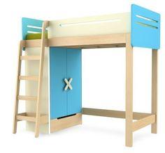 Łóżko piętrowe pojedyncze z szafą TIMOORE SIMPLE