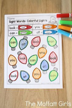 Colorful Sight Words- Teach number concepts, colors, shapes, letters, phonics and so much more with the December NO PREP Packet for Preschool! Teaching Sight Words, Sight Word Practice, Teaching Letter Sounds, Kindergarten Literacy, Kindergarten Christmas, Early Literacy, Learning Activities, Sight Word Activities Preschool, Preschool Centers