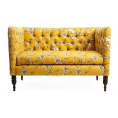 Love this Dwell fabric - also available in a very soft blue-gray. Fun little sofa for a Bohemian space.