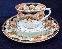 Vintage C 1928 - 1938, Roval Vale Trio Matching Cup, Saucer & Small Plate by H J Colclough Longton England.