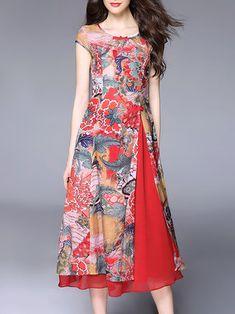 Red Short Sleeve Crew Neck Silk Midi Dress