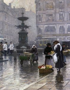 The Storkespringvandet in Amagertorv by Paul Gustave Fischer