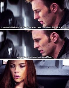 When Steve cried. Nat looks so lost in thought right here, like she's trying to figure out when she's cried in her life and can't think of any times. Now I am sad. <~~~ well she also got shot in the arm and was losing a lot of blood