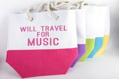 Will Travel For Music Color Block Canvas Tote Bag - Perfect For Concerts, Festivals, Beach Trips & more! Beach Bag/ Summer Tote/Concert Gear by StrumsandShots on Etsy