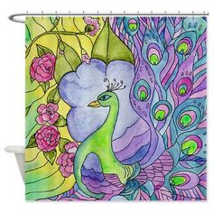 Peacock Shower Curtain - Stained Glass Peacock- garden, flowers colorful purple,blue, green, yellow, home decor