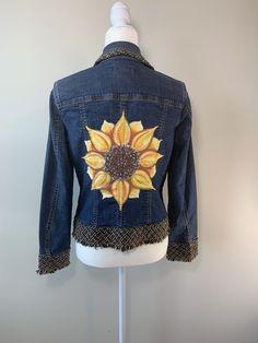 Sunflower Denim Jacket, Women's Size 8, Coldwater Creek, Hand Painted Denim by GulfLifebyNichole on Etsy