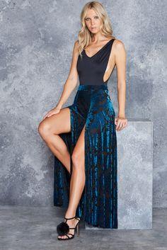 Burned Velvet Teal Floral Split Skirt - LIMITED ($99AUD) by BlackMilk Clothing