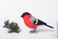 Купить Снегирь - интерьерная игрушка - ярко-красный, снегирь, птица, птичка, зима, интерьерная игрушка