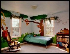 jungle bedroom display with rope bamboo and jellycat toys- my, Deco ideeën