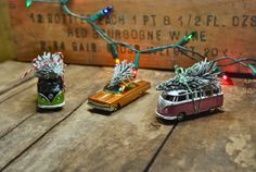 DIY classic cars w/ Christmas trees...for village accessories