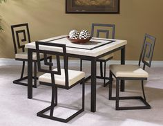 Surprising modern dining room sets canada just on shopy home design Welded Furniture, Iron Furniture, Steel Furniture, Home Decor Furniture, Table Furniture, Furniture Design, Glass Furniture, Industrial Furniture, Black Metal Chairs