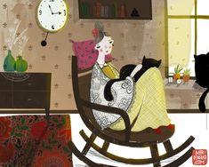 Crazy Cat Lady, Crazy Cats, Yellow Armchair, Whimsical Art, Cat Art, Female Art, Illustrations Posters, Illustrators, Art For Kids