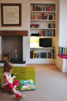 Build shelves like these into the nook in our bedroom....