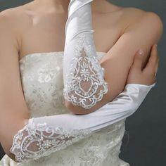 USD5.84Spring Autumn Elbow Length Splicing Lace White Satin Wedding Gloves