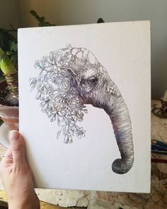 My Elephant drawing, complete with flowers and vines. Elephant Love, Elephant Art, Holding Flowers, Subtle Textures, Back Tattoo, Fine Art Prints, Moose Art, Original Art, Elephants