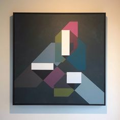 Shady - original framed painting by Amanda Wilkinson Dark Paintings, Solid Shapes, The Way Home, Flat Color, Wall Sculptures, Geometric Art, Painting Frames, Canvas Frame, Original Artwork