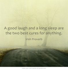 A good laugh and a long sleep are the two best cures for anything. True.