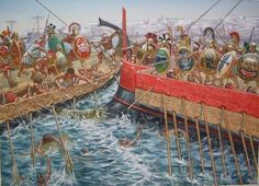 """The Battle of Alalia, By Giuseppe Rava. The Battle of Alalia, ca. 540 BCE, took place in the Sardinian Sea between the Phocaeans and a coalition of Etruscans and Phoenicians. According to Herodotus (1.166.2) the Phocaeans with sixty galleys achieved a """"Cadmeian victory,"""" over the coalition forces consisting of one hundred and twenty galleys. Both sides presumably deployed biremes, penteconters with two levels of oarsmen."""