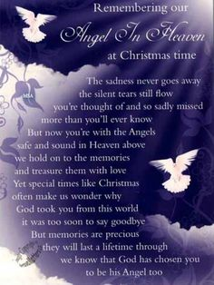 Amazing Grace-My Chains are Gone.org: POEM (Remembering Our Angel in Heaven at Christmas Time)