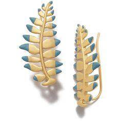 Tory Burch Fern Ear Cuff ($105) ❤ liked on Polyvore featuring jewelry, earrings, ear cuff earrings, tory burch, leaf earrings, leaves jewelry and tory burch jewelry