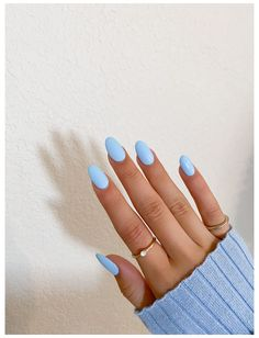 Rounded Acrylic Nails, Acrylic Nails Coffin Short, Simple Acrylic Nails, Almond Acrylic Nails, Summer Acrylic Nails, Ongles Baby Blue, Baby Blue Nails, Blue Gel Nails, Pastel Blue Nails