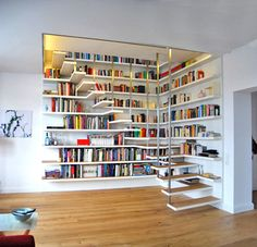 Ideas Home Library Ideas Diy Bookshelves House Book Stairs, Attic Stairs, Attic Floor, Garage Attic, Attic Ladder, Attic Window, House Stairs, Bibliotheque Design, Home Libraries