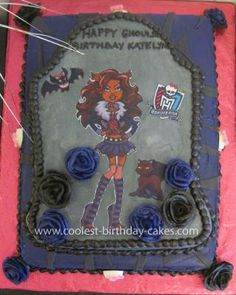 Homemade Monster High Cake: My daughter is a HUGE fan of Monster High dolls at the ripe old age of 5. I made her Homemade Monster High Cake using different elements. I used a tombstone