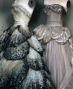 Sheila Metzner for American Vogue, December 1986. Gowns by Christian Dior, circa 1949.