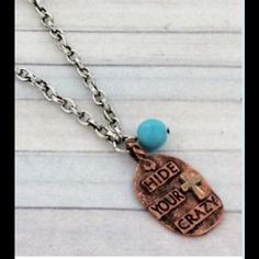 """❄️SALE❄️ HIDE YOR CRAZY PENDANT NECKLACE 17"""" long burnished silvertone chain with 3"""" extender. Burnished coppertone 1.25"""" last night pendant with patina cross and faux turquoise bead. NO TRADES! Reasonable offers using the """"offer"""" feature are welcomed and considered. Jewelry Necklaces"""