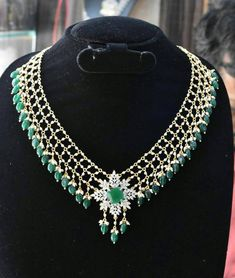 Items similar to Emerald pearl necklace with a diamond finished pendent on Etsy Pearl Necklace Designs, Beaded Jewelry Designs, Gold Necklace, Fancy Jewellery, Bridal Jewellery, Indian Wedding Jewelry, Indian Jewelry, Dimonds, Pearl Set