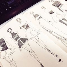 Fashion Drawing Fashion design sketches by designer - Dress Design Sketches, Fashion Design Sketchbook, Fashion Design Portfolio, Fashion Illustration Sketches, Illustration Mode, Fashion Design Drawings, Fashion Sketches, Paper Fashion, Fashion Figures
