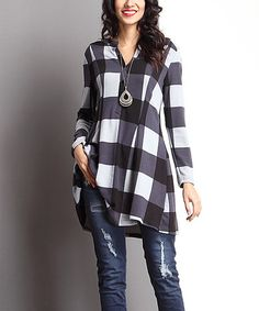 Another great find on #zulily! Charcoal Buffalo Check Notch Neck Tunic #zulilyfinds