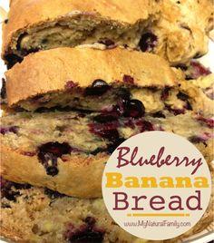 Healthy Blueberry Banana Bread Recipe - MyNaturalFamily.com #bananabread #recipe