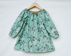 Long Sleeve Peasant Dress for Girls - Whimsical Woodland Print