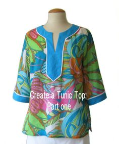 Sew a neckline placket with a clean edge and no facings. Learn how to design your own tunic top by adapting a basic shirt pattern in this online tutorial!