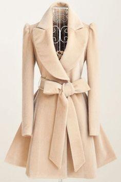 Noble Turn-Down Collar Long Sleeve Pure Color Self Tie Belt Women's Coat Dress