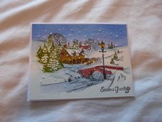Penny Black Peaceful Village stamp Penny Black Cards, Penny Black Stamps, Homemade Cards, Christmas Cards, Tutorials, Peace, Xmas Cards, Diy Cards, Christmas Greetings