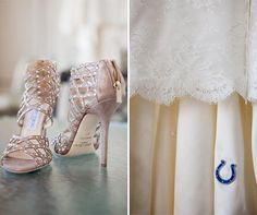 "Alexis wore studded Jimmy Choo sandals on her big day and for her ""something blue,"" she had the Indianapolis Colts logo embroidered under her dress."