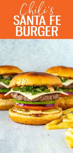 This Chili's Santa Fe Burger is a perfect copycat, stacked with avocado, monterey jack, red onion, jalapeños, tomato, pickles, cilantro Copycat Recipes, Beef Recipes, Vegan Recipes, Cooking Recipes, Recipies, Spicy Aioli, Spicy Sauce, Summer Recipes, Great Recipes