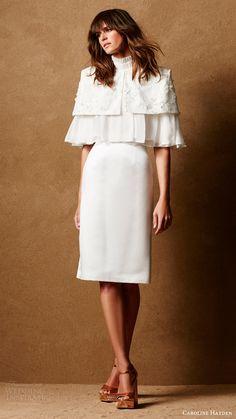 caroline hayden bridal 2017 duchess satin knee length pencil skirt (ch015) mv