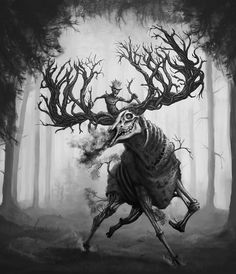 In Finnish mythology and folklore, the goblins (hiisi) are vicious creatures who have made many supernatural animals. They have forged a horse inside a mountain. Finnish shamans used to banish diseases on the back of the Hiiden hevonen to take them into Goblin, Horror Music, Hampi, Wild Creatures, Best Horrors, Halloween Backgrounds, Macabre, Elk, Folklore