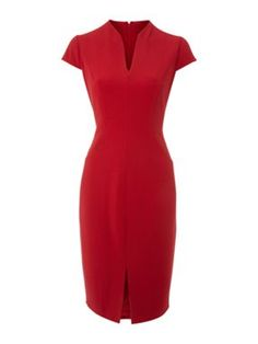 Cap sleeve shift dress mandarin collar with slim v