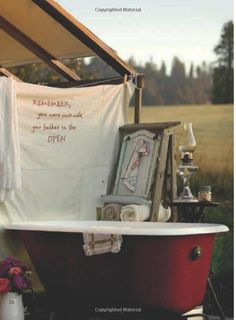 Ahh the outdoor bathtub! Reminds me of happy days in Texas with Mom. We each had our own tub. She loved it! (we were dressed in our special bathtub outfits). Outdoor Bathtub, Outdoor Bathrooms, Outdoor Showers, Garden Bathtub, Outdoor Spaces, Outdoor Living, Outdoor Decor, Parasols, Camping Glamping