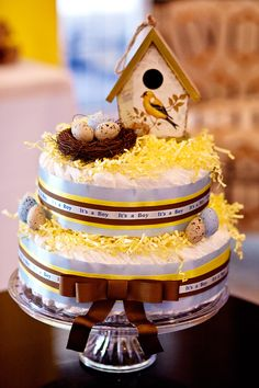 Birds and the Bees Baby Shower Diaper Cake