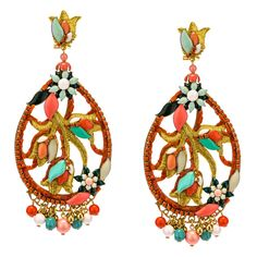 Coral and Golden Thread Pendant Earrings by DUBLOS