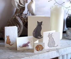 Pack of  5 cat cards. Hand made unique by Bagardcardsandcrafts